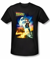 Back To The Future Slim Fit T-shirt Poster Adult Black Tee Shirt