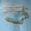 Back To The Future T-Shirt Blue and Orange Light Blue Heather Adult Tee Shirt