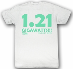 Back To The Future T-shirt 1.21 Gigawatts Adult White Shirt Tee
