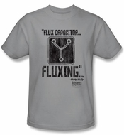 Back To The Future T-shirt Movie Fluxing Adult Silver Tee Shirt