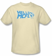 Back To The Future T-shirt Movie Hello Mcfly Adult Cream Tee Shirt