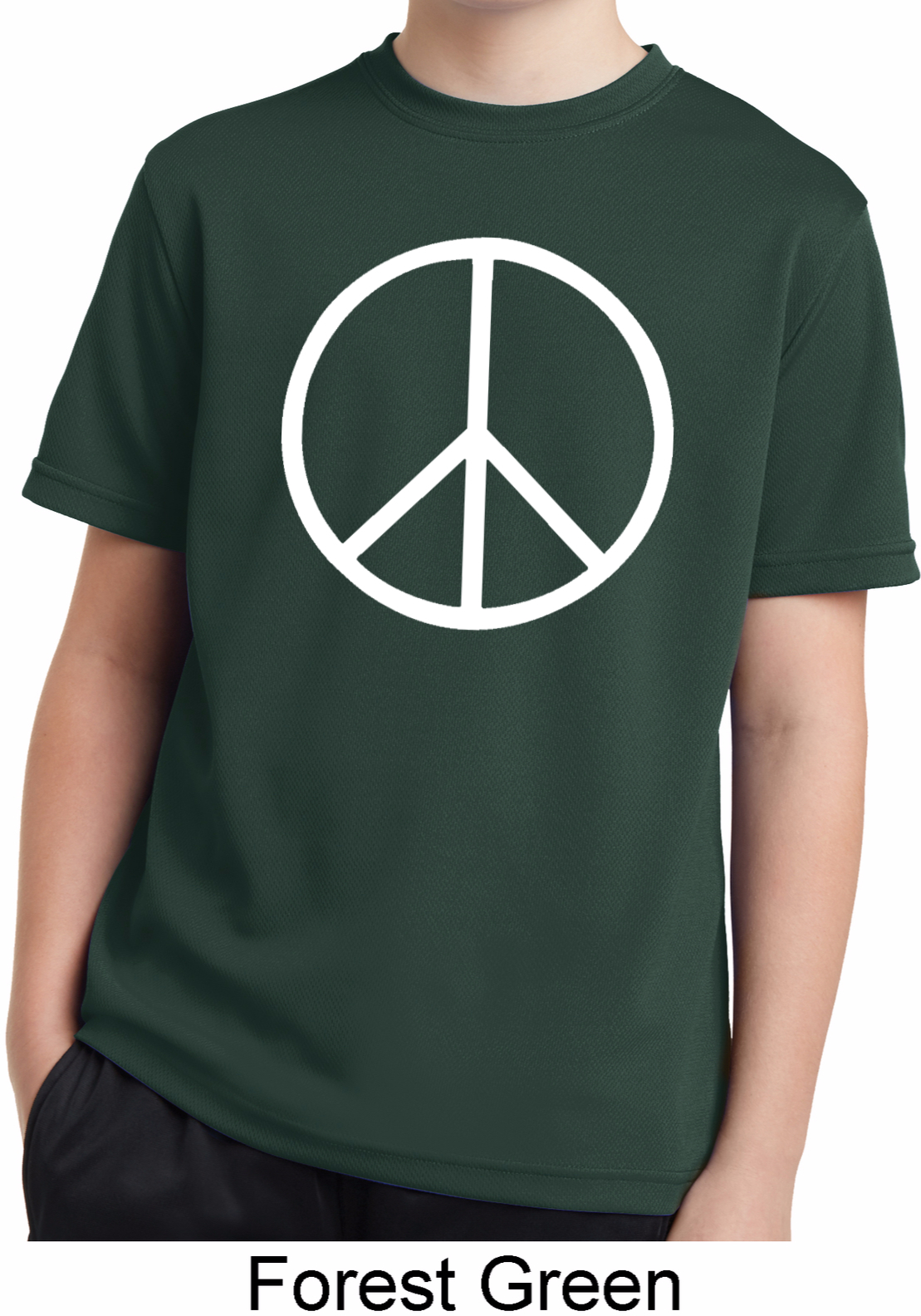 Basic White Peace Kids Moisture Wicking Shirt Basic