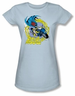 Batgirl Juniors T-shirt - Batgirl Motorcycle Dc Comics Light Blue