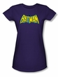 Batman Juniors T-Shirt - Classic Batman Logo Purple Tee
