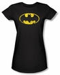 Batman Juniors T-Shirt - Classic Logo Distressed Black Tee