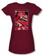 Batman Juniors T-Shirt - Wanted Bat Cardinal Red Tee