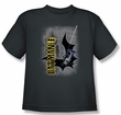 Batman Kids T-Shirt - Swing Into Action Youth Charcoal Tee