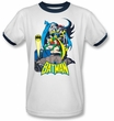 Batman Ringer T-Shirt - Heroic Trio Adult White/Navy Tee