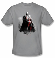 Batman T-Shirt - Arkham City Harley And Bats Adult Silver Tee