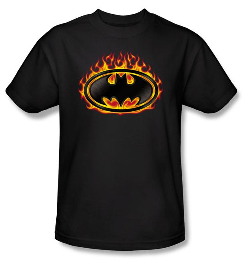 Batman t shirt bat flames shield adult black tee for Riddler t shirt with bats