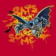 Batman T-Shirt - Bats Don't Scare Me Adult Red Tee