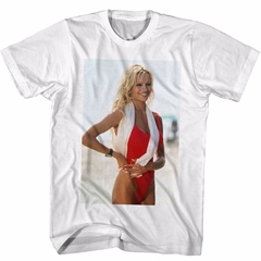 Baywatch Shirt Blonde With Towel White T-Shirt