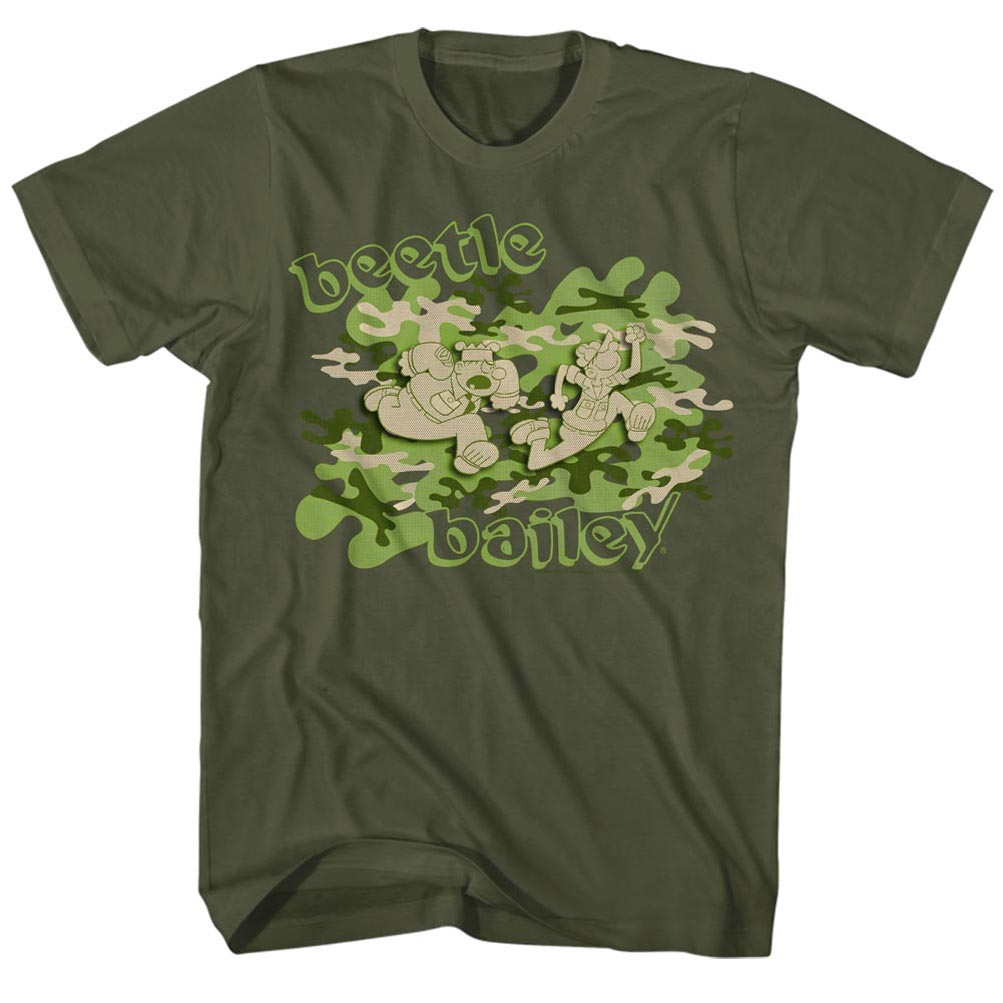 Beetle Bailey Shirt Camo Olive Green T Shirt Beetle