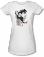 Betty Bettie Page Juniors Shirt Transparent Bands White T-shirt