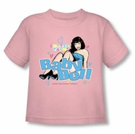 Betty Bettie Page Kids Shirt Baby Doll Youth Pink Tee Shirt