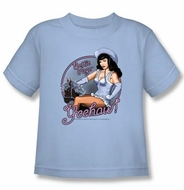 Betty Bettie Page Kids Shirt Cowgirl Light Blue Youth T-shirt