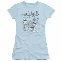 Betty Boop Juniors Shirt Greetings From Paris Light Blue T-Shirt