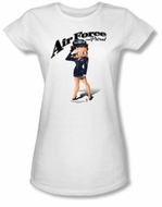 Betty Boop Juniors T-shirt Air Force Boop White Tee