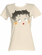 Betty Boop Juniors T-shirt Boopface Dirty White Tee Shirt