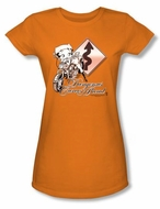 Betty Boop Juniors T-shirt Dangerous Curves Orange Tee