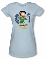 Betty Boop Juniors T-shirt Hula Honey Light Blue Tee