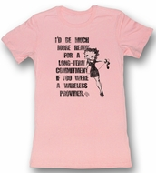 Betty Boop Juniors T-shirt Long Term Commitment Pink Tee Shirt