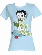 Betty Boop Juniors T-shirt Maid To Order Powder Blue Tee Shirt
