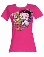 Betty Boop Juniors T-shirt Peace And Love Hot Pink Tee Shirt