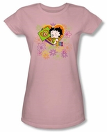 Betty Boop Juniors T-shirt Peace Love Pink Tee