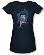 Betty Boop Juniors T-shirt Proud Betty Navy Tee