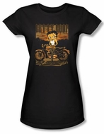 Betty Boop Juniors T-shirt Rebel Rider Black Tee