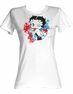 Betty Boop Juniors T-shirt Red White And Blue White Tee Shirt