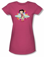 Betty Boop Juniors T-shirt Surf Hot Pink Tee