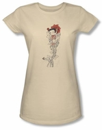 Betty Boop Juniors T-shirt Thorns Cream Tee