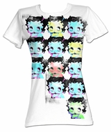Betty Boop Juniors T-shirt Warhol-Esqe Faces White Tee Shirt