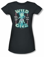 Betty Boop Juniors T-shirt Wild One Charcoal Tee