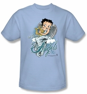 Betty Boop Kids T-shirt I Believe In Angels Youth Light Blue Tee Shirt