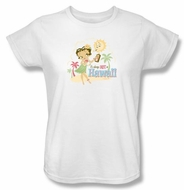 Betty Boop Ladies T-shirt Hot In Hawaii White Tee Shirt
