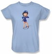 Betty Boop Ladies T-shirt Officer Boop Light Blue Tee Shirt