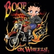 Betty Boop Ladies T-shirt On Wheels Black Tee Shirt