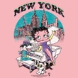 Betty Boop Ladies T-shirt Singing In New York Pink Tee Shirt