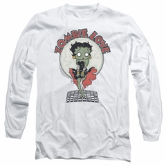 Betty Boop Long Sleeve Shirt Breezy Zombie Love White Tee T-Shirt