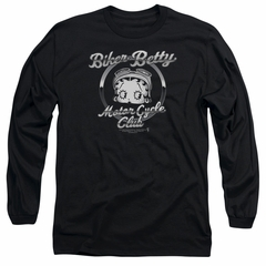 Betty Boop Long Sleeve Shirt Chromed Logo Black Tee T-Shirt