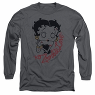 Betty Boop Long Sleeve Shirt Classic Zombie Charcoal Tee T-Shirt