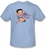 Betty Boop Shirt All American Girl Adult Light Blue T-shirt