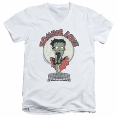 Betty Boop Slim Fit V-Neck Shirt Breezy Zombie Love White T-Shirt