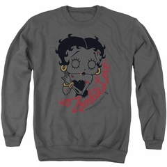 Betty Boop Sweatshirt Classic Zombie Adult Charcoal Sweat Shirt