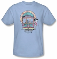 Betty Boop T-shirt Betty's Trolley Adult Light Blue Tee