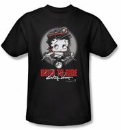 Betty Boop T-shirt Born To Ride Adult Black Tee
