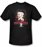 Betty Boop T-shirt Classic Kiss Adult Black Tee Shirt
